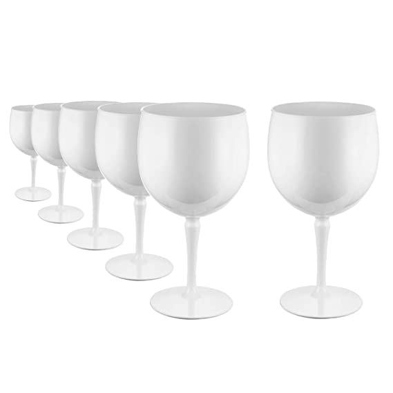 RB Irrompible Copas Balon Gin Cóctel Blanco Premium Plástico 47cl, Set de 6: Amazon.es: Hogar