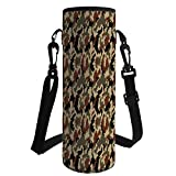 iPrint Water Bottle Sleeve Neoprene Bottle Cover,Camouflage,Pixel Art Style Military Blending in Environment Pattern Abstract Fashion Decorative,Brown Black Sepia,Fit for Most of Water Bottles