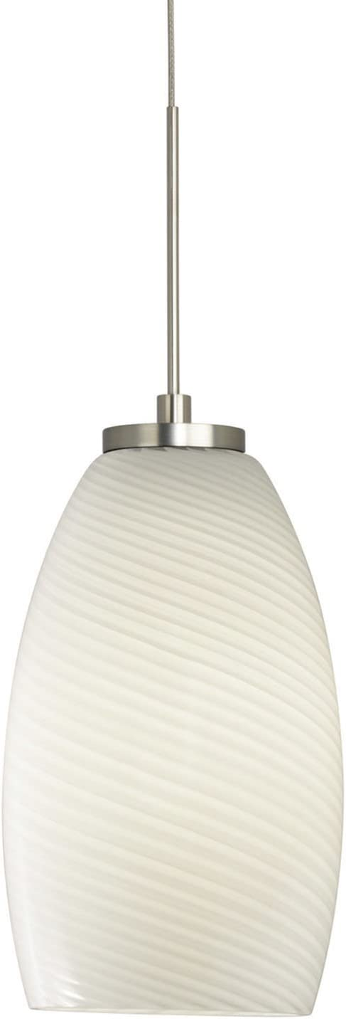 Stone Lighting PD185MOSNL5M Pendant Satin Nickel Finish with Cased Blown Glass and Swirl Optic Shades