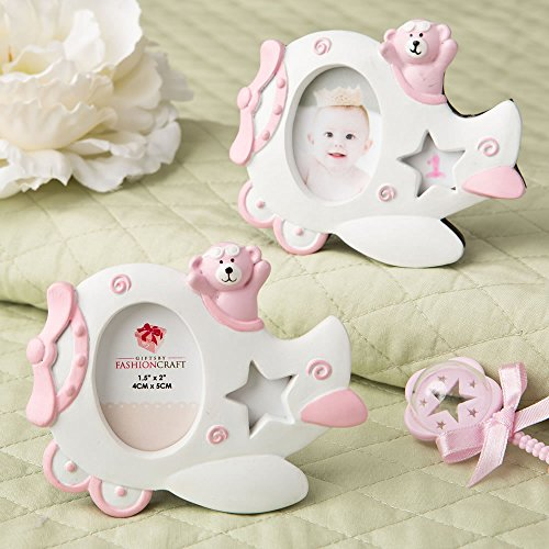 Pink Teddy Bear Design (96 Pink Airplane Design Photo Frames w/ Adorable Teddy Bear Decoration)