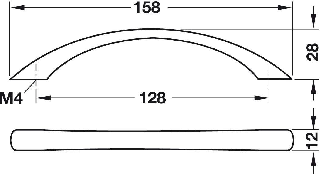 H10136/  Stahl schwarz matt eleganter Design K/üchengriff Gedotec Schrankgriff schwarz M/öbelgriff 128 mm Bogengriff K/üche 1 St/ück Kommoden-Griff mit Befestigungsmaterial Vollmaterial massiv