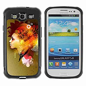 A-type Arte & diseño Anti-Slip Shockproof TPU Fundas Cover Cubre Case para Samsung Galaxy S3 III / i9300 / i717 ( Colorful Abstact Girl )
