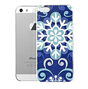 Light weight with strong PC plastic case for iPhone iphone 5s Patterns Patterns White And Blue Snowflakes