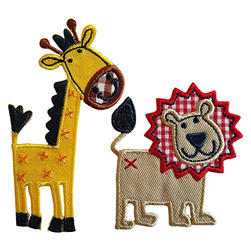 Lion 6X7Cm Giraffe 5X10Cm Iron-On Designer Patch Used For Jeans Clothing Fabric Gifts Crafts To Iron On City Kids Sew On Plate Dresses Jacket Backpack Scarf Cushion Door Bunting Flag Trousers Bag Bac