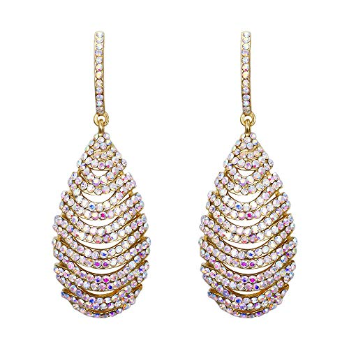 BriLove Women's Tribal Ethnic Crystal Hollow Layered Teardrop Dangle Earrings Iridescent AB Gold-Toned ()