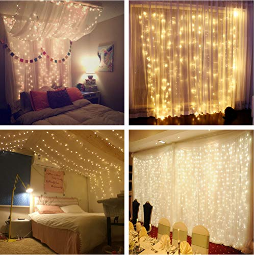 MZD8391 Curtain String Lights, 9.8 X 9.8ft 304 LED Starry Fairy Lights for Wedding, Bedroom, Bed Canopy, Garden, Patio, Outdoor Indoor (Warm White) by MZD8391 (Image #1)
