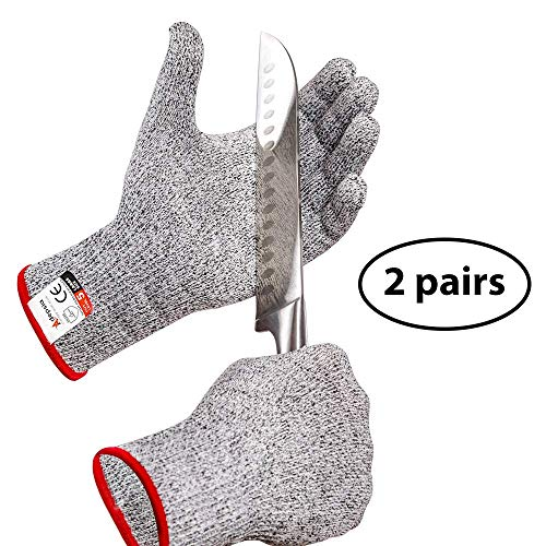 Adepsia Cut Resistant Gloves - 2 PAIRS FDA Approved for Kitchen Work! Level 5 Protection for Hand while Cooking or Carving Food and Shucking Oysters or Cutting Fish with a Fillet Knife - Large Size