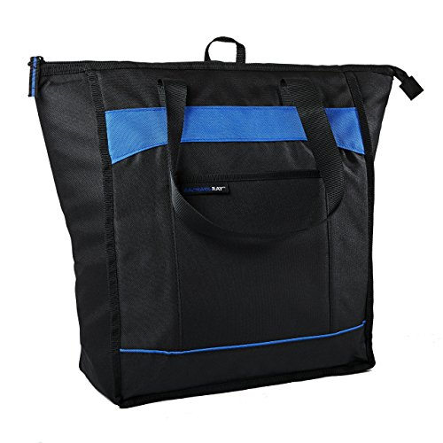 (Rachael Ray ChillOut Thermal Tote, Insulated Bag for  Grocery Shopping /Entertaining, Transport Hot and Cold Food, Black with Blue Trim)