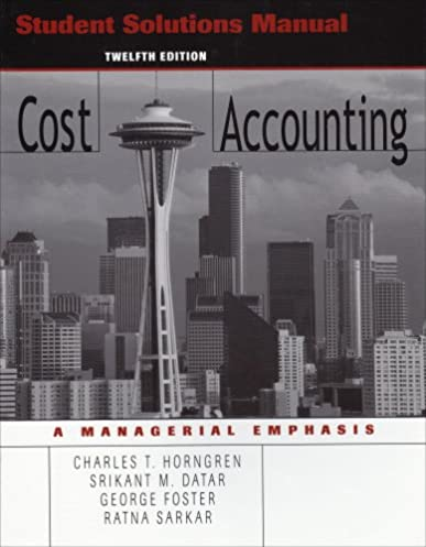 amazon com student solutions manual to accompany cost accounting rh amazon com Test Bank Solutions Manual Student Solutions Manual