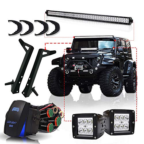TURBOSII DOT 50″ Inch LED Light Bar Offroad Light Fit Jeep Wrangler JK 2007- 2015 W/ Upper Roof Windshield A-pillar Mounting Brackets + 2PC 3″ Pods Cube Fog Lights + DT Wiring Harness Rocker Switch