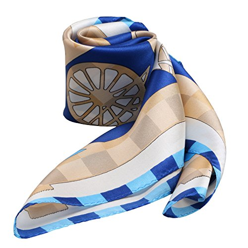 100% Silk Scarf Neckerchief Small Square Print Scarves Women (Plaid Horse Blue)