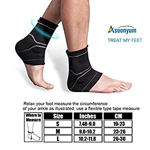 Ankle Brace Compression Sleeve - Wrap Girls, Women, Athletes Ankles & Foot for Dance, Running, Swelling, Injury Recovery, Joint Pain, Plantar Fasciitis, Black 1 Pair ASOONYUM