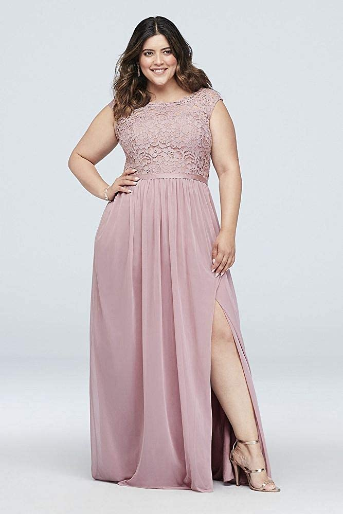 dc92f5d0387 David s Bridal Long Bridesmaid Dress with Lace Bodice Style F19328 MORE  COLORS larger image