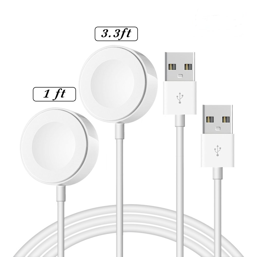 OPSO [ MFi Certified ] Apple Watch Charger,Magnetic Charging Cable Compatible with Apple Watch/iWatch 38mm 40mm 42mm 44mm White 1 Meter+0.3 Meter(2 Pack) by OPSO