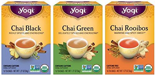 Chai Tea Bags Organic Variety Pack Of Three Herbal Tea Favorites - Chai Rooibos, Chai Green & Chai Black - Spiced and Energizing - 16 Tea Bags Each Box (Pack of 3)