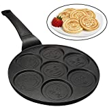 Emoji Smiley Face Pancake Pan – Non-stick Pan Cake Griddle with 7 Unique Flapjack Faces