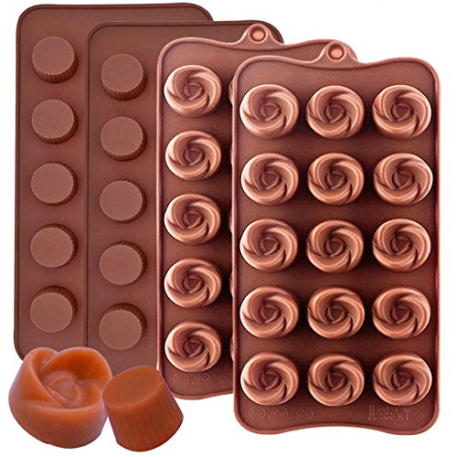 - IHUIXINHE Silicone Chocolate Molds Truffle and Flowers Shape chocolate Candy Mould Jelly Ice Tray for Handmade DIY, 4 Pack