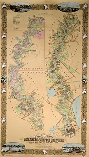 Imagekind Wall Art Print entitled Map Depicting Plantations On The Mississippi River by The Fine Art Masters | 27 x - Wall Map Mississippi