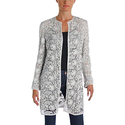 Lauren Ralph Lauren Womens Leolya Lace Overlay Faux Suede Trim Jacket Gray XS (Lauren Ralph Lace Spring)