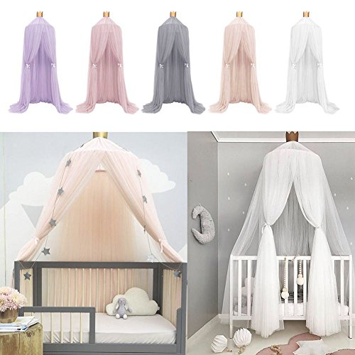 Aminiture Kids Baby Princess Mosquito Net Bed Canopy with Round Lace Dome Children Playing Reading canopy Tent Netting Curtains by Aminiture (Image #4)