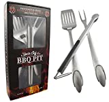 "Heavy Duty BBQ Grilling Tools Set - Professional Grade 18"" Long Stainless Steel 3-Piece Barbecue Grill Kit includes Over Sized Spatula, Fork and Locking Tongs - Perfect Gift From Uncle Jeff's BBQ Pit"