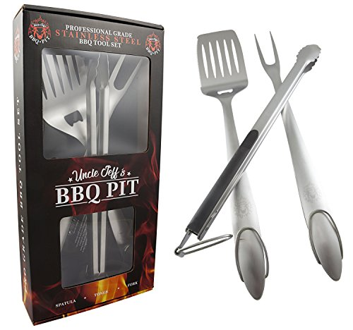 Heavy Duty BBQ Grilling Tools Set - Professional Grade 18'' Long Stainless Steel 3-Piece Barbecue Grill Kit includes Over Sized Spatula, Fork and Locking Tongs - Perfect Gift From Uncle Jeff's BBQ Pit by Uncle Jeff's BBQ Pit