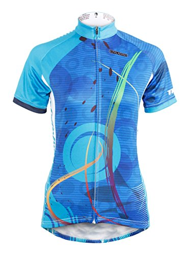 QinYing Women's Short Sleeve Outdoor Bicycle Bike Cycling Jersey Top Blue L