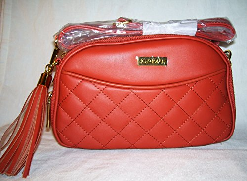Joy & Iman, Diamond Quilted Genuine Leather Crossbody Bag with RFID, Terracotta