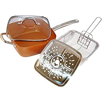 Amazon Com Copper Pan 5 Piece Square Pan Glass Lid