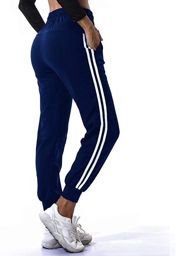 TRESXS Womens Drawstring Waist Striped Side Jogger Sweatpants with Pockets Yoga Running Pants Sport Trousers