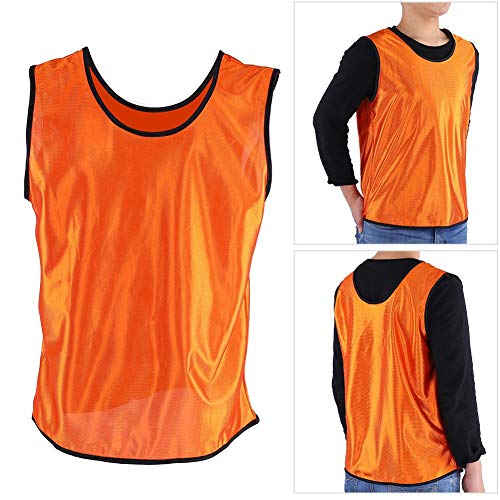 - Football Training Vests, 12 Pack Jerseys Sleeveless Breathable Kids Soccer Basketball Rugby Training Bibs Quick-Drying Team Uniform for Sports Fitness (Orange)