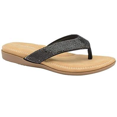 6f7ea0d8a1ec Dunlop Womens Flip Flops New Ladies Memory Foam Toe Post Slip On Beach  Sandals (UK
