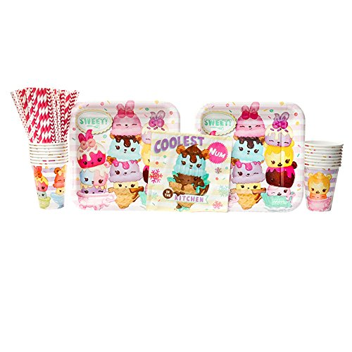 Num Noms Birthday Party Supplies Pack for 16 Guests | Eco Paper Straws, 16 Dinner Plates, 16 Luncheon Napkins, and 16 Cups | Num Noms Party Supplies Bundle For A Cute and Sweet Birthday Party!