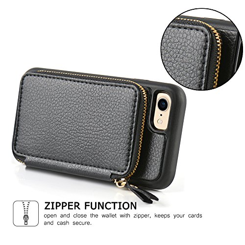 iPhone 8 Wallet Case, iPhone 7 Wallet Case, ZVE iPhone 7 Case/iPhone 8 Case with Card Holder, Protective Wallet Leather Case With Credit Card Holder Slot for Apple iPhone 7/8 4.7 inch - Black by ZVE (Image #5)