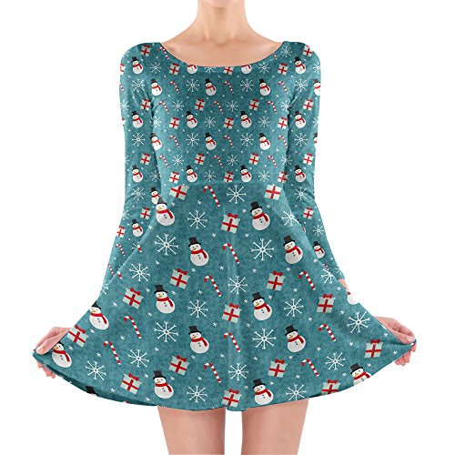 Queen of Cases - Robe - Patineuse - Manches Longues - Femme bleu bleu One Size