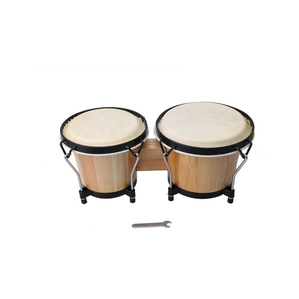 Yibuy 21cm/18cm Dia Bongo Drum Set Wood Bongos Drum Bongo Drummer African Drum