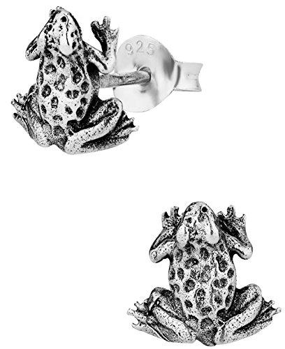 Hypoallergenic Sterling Silver Cute Tiny Frog Stud Earrings for Kids (Nickel Free)