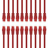 GearIT 20 Pack, Cat 6 Ethernet Cable Cat6 Snagless Patch 1 Foot - Computer LAN Network Cord, Red