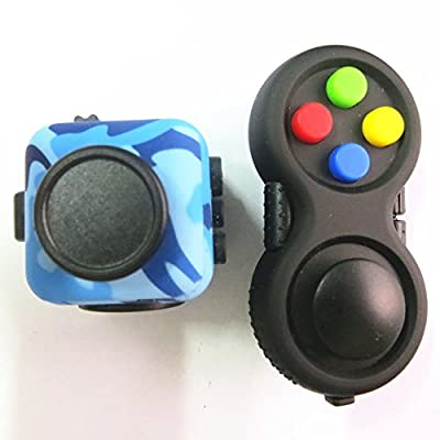 Fidget Pad and Fidget Cube Camouflage Retro Controller carefully balanced EDC Toy for Kids & Adults ADD, ADHD, Anxiety and Stress Relief Killing Time(Colorfull+Blue Camo)