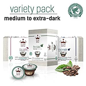 GLORYBREW – Variety Pack - 36 count 100% Compostable Coffee Pods for Keurig K-Cup Brewers - Rainforest Alliance certified – Medium, Dark and Extra Dark Roast | Better than Biodegradable Coffee Pods