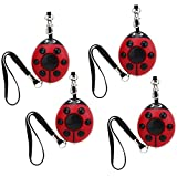 WER 125dB Ladybug Emergency Personal Alarm Keychain with Led Flashlight for Kids/Students/Women/Girls/Elderly/Adventurer/Night Workers Self Defense/Protection Electronic Device Bag Decoration(4 pack)