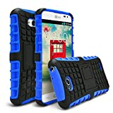 LG Optimus L70 Case, LG Optimus Exceed 2 Case, MagicMobile Ultra Protective Shockproof Defender Cute Case for LG L70 Dual Hybrid Layer Rugged TPU Case for LG Optimus Real with Kickstand - Blue