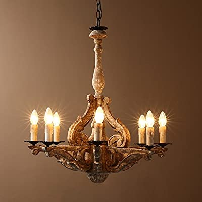 KunMai Retro Rustic French Country Carved Wood Distressed Candle-Style 8-Light Chandelier Pendant Light