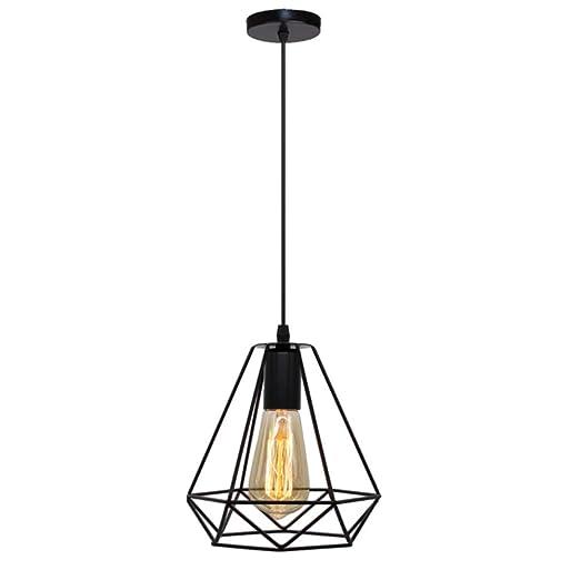 SHINEELI Lámpara Colgante Industrial, lámpara de Jaula de Alambre ...