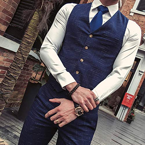 Unique Taille Manches Costume Lirenshige Longues Homme Bleu Y4Rq0p