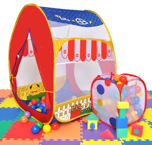 Blue Polka Dot Twist & Animal Barn Theme Play Ball Tent House w/ Safety Meshing for Child Visibility & Tote Bags