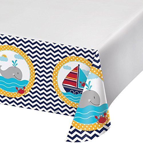 Border Print Plastic Tablecover, Ahoy Matey! (Nautical Plastic Side Table)