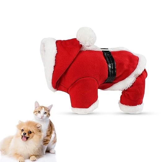 Corkcrd Disfraces de Navidad para Mascotas Traje de Papá Noel para Perros pequeños Gatos Sudadera con Capucha de Invierno Abrigo Ropa-XL