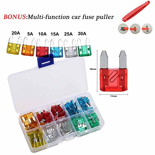 (120 Pieces 5A 10A 15A 20A 25A 30A Mini Blade Fuse Assortment Automotive Car Truck Fuses Bonus Multi-Function car Fuse Puller)