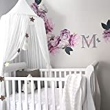 YUYOUG Children Bed Canopy Round Dome, nursery decorations, Cotton Mosquito Net, Kids Princess Play Tents, Room Decoration for Baby (White)
